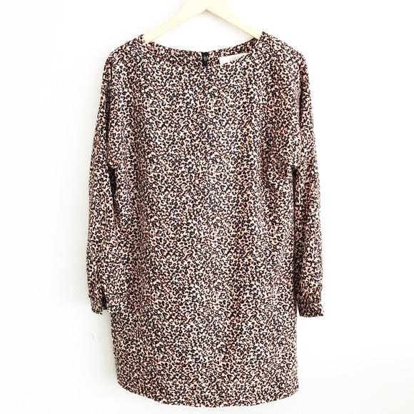 56d91e324b9b LOFT Dresses & Skirts - LOFT Leopard Print Long Sleeve Shift Dress